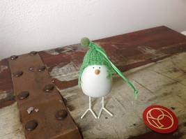 Miniature white ceramic bird w feet w knit hat color choice dept 56 new image 3