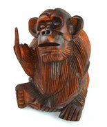 6 Inch Rude Monkey Flipping The Bird Middle Finger Wooden Statue WorldBa... - $21.78