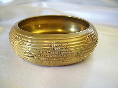 BRASS Embossed Ridged BANGLE Bracelet  Engraved Design Great PATINA Vintage