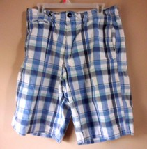 American Eagle Mens Shorts Plaid Longer Length Plaid Blue Size 33 Distre... - $17.21