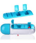 600ML 2 In 1 Travel Pill Case Water Bottle Cup Vitamin Storage Organize... - $12.95