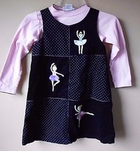 Sophie Rose Navy Corduroy dress with ballerinas   Size  6x Kids - $19.55