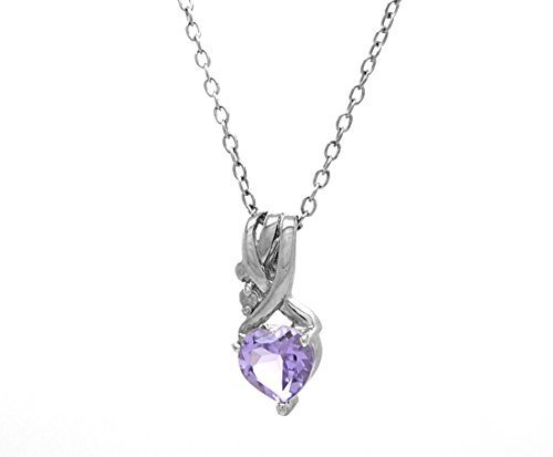 925 Sterling Silver Heart Shaped Amethyst Diamond Accent Pendant