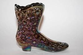 Fenton Glass Amethyst Carnival Daisy & Button Shoe Boot  #1609 image 2