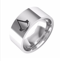 USA 8mm Assassins Creed Men Silver Titanium Stainless Steel Ring Band Si... - $247,92 MXN