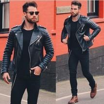 Men Genuine Lambskin Quilted Real Leather Motorcycle Slim fit Biker Jacket - $69.99+