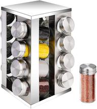Revolving Spice Rack,16 Jars, Stainless Steel Spice Rack Empty Glass wit... - $33.46