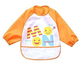 Cute Cartoon Waterproof Sleeved Bib Baby Smock Baby Bibs ORANGE, 0-3 Years