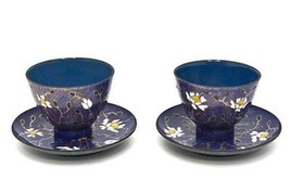 Vintage 60s Pair HandDecorated Enamel Cups & Saucers Signed Miguel Pined... - $171.50