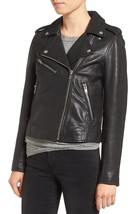 Women's Handmade Black Color Motto Style Genuine Leather Jacket Make To ... - $149.99