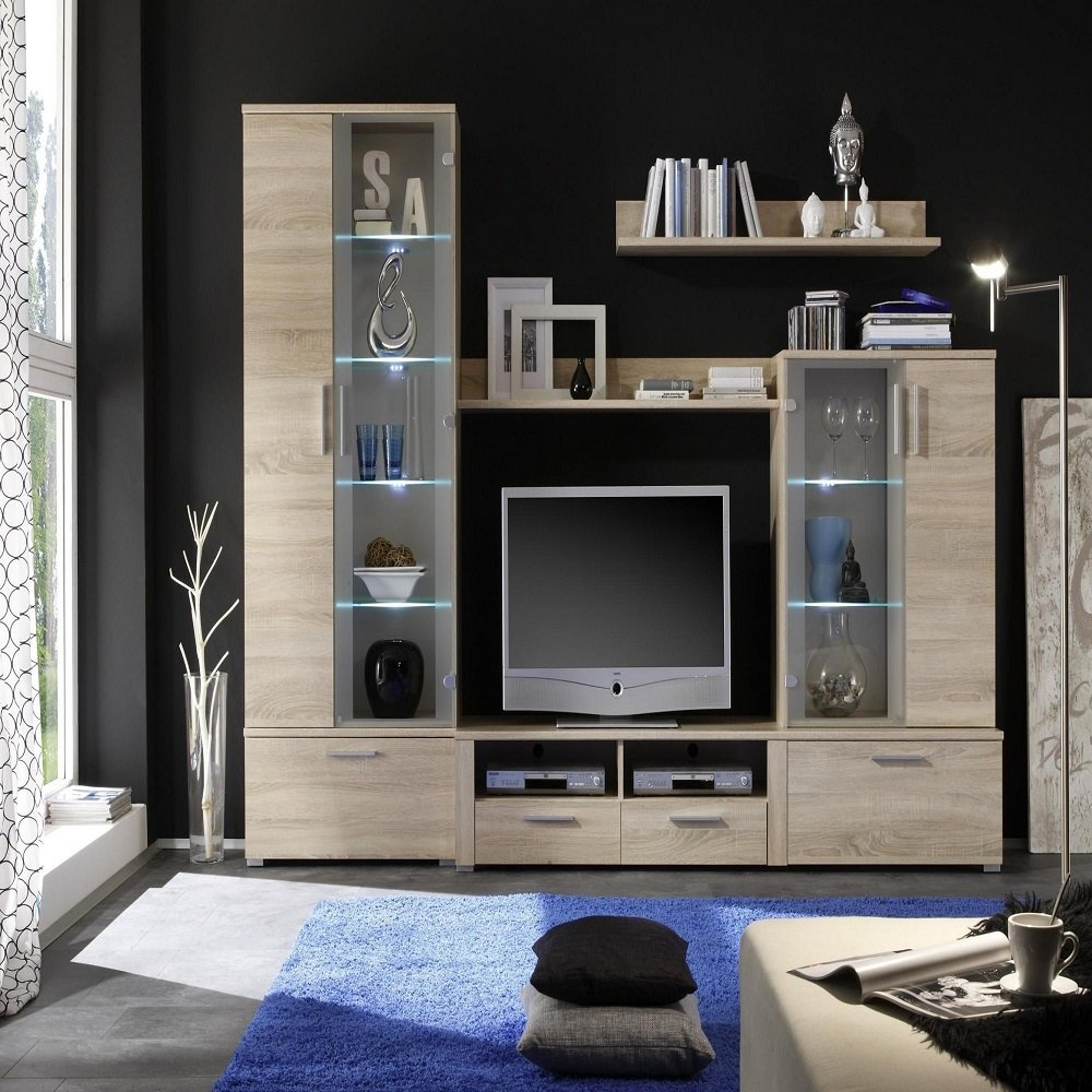 German Furniture Warehouse Diana Tv Stand Wall Unit With Glass Hutch Entertainment Units Tv