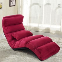 Folding Chair Lazy Sofa Stylish With Pillow Burgundy  - $109.95