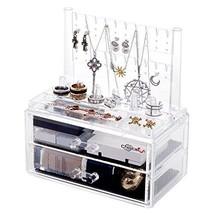 Jewelery Box Storage Cosmetic Makeup Organiser w/ 2 Drawers Acrylic Bran... - $41.06