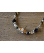 Silver and Hand Blown Glass Bead Choker Bracelet 7.5 inches - $9.89