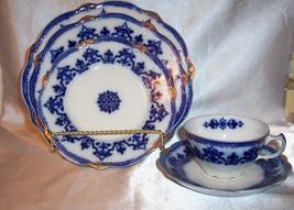 Antique W H Grindley Flow Blue Celtic 5 Pc Place Setting ca 1891-1914 - $135.00