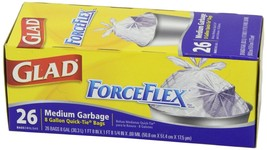 26Pcs Glad Force Flex Medium Garbage Bag Quick-Tie Rubbish Trash Bags 8 ... - $16.84