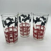 """Terrier Scotty Scottish Glass Set Black Red Vintage 5"""" Barware Flannel S... - $33.00"""