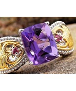 Amethyst and Pink Tourmaline Heart  Ring natural stones Size 9 - $118.68