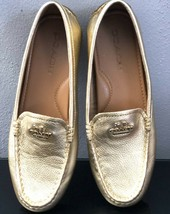 Coach Mary Lock Up Gold Pebbled Saddle Leather Driving S 7 M Loafers - $37.11