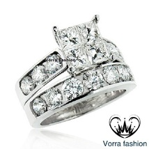 Bridal Engagement Ring Set Princess Cut White CZ 14k Gold Plated Sterling Silver - $89.99