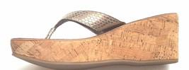 SAM EDELMAN Romy Platform Thong 10 M 42 EU Cork Wedge Sandal Silver Snake   - $62.71