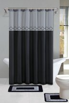 Set bathroom curtains Polyester, Bathroom Rug Set Gray/Black - $39.00
