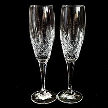 2 (Two) MIKASA COVENTRY Cut Lead Crystal Champagne Flutes Height: 10 in - $79.93