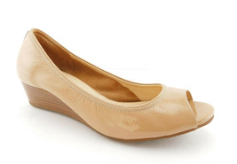 Cole Haan Size 8 Air Tali Beige Soft Patent Open Toe Wedge Heels Shoes - $59.00