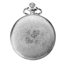 Antique Hollow Petals Dial Pocket Watch Quartz Watch Necklace Chain Gift - $10.86