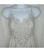 Vintage Flair Long Slip Dress Nightgown M Purple Nylon Lace Low Back Uni... - $69.25