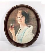 "Vintage 1973 Coca Cola Oval Metal Tin Serving Tray WW1 Girl Ad - 15"" x 1... - $18.95"