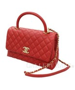 CHANEL Top Handle Flap Bag Caviar Leather Red A92991 Italy Authentic 543... - $4,469.60