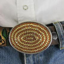 Mode Cowgirl Homme Femme Boucle Ovale Western Métal Argent Marron Strass image 2