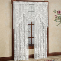 """Abbey Rose Floral Pattern High Gauge Lace Curtain Single Panel 50""""W x 84... - $18.99"""