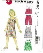 McCALLS PATTERN 6260 TODDLERS/CHILDRENS TOP DRESSES & CAPRI PANTS SIZE 1-6 - $2.50