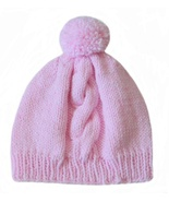 Closet Values Toddler Girls Size 3T-4T Pink Cable Pom Pom Knit Hat - $8.99