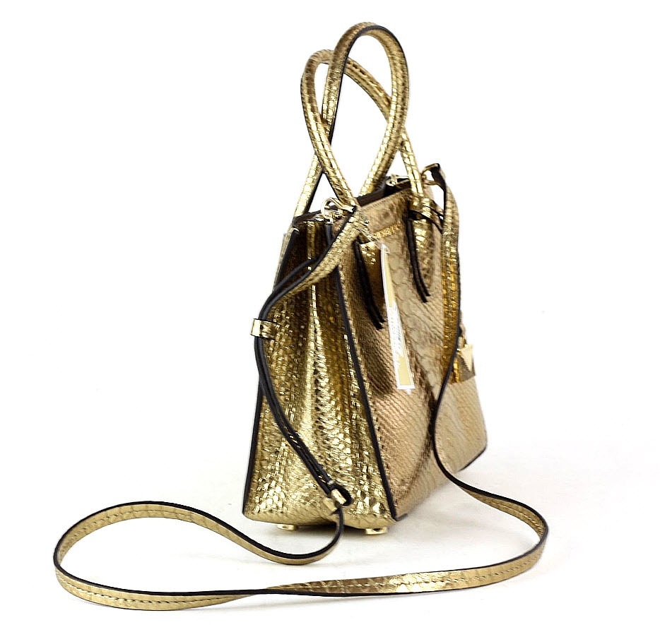 88004ba60401 Michael Kors Mercer Metallic Embossed-leather Crossbody gold