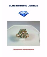 Vintage Lds. 14k Gold-Diamond-Emerald Cluster Excellent Condition GREAT ... - $189.99