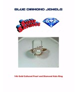 Vintage Diamond Halo-Cultured Pearl-14k Gold Lds Ring 6mm with .0.28pts - $250.00