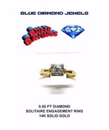 Vintage Diamond Solitaire Engagement Ring 0.50pts (1/2ct.) 14k Gold SUPE... - $725.00