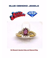 Woman's Ruby 14k Gold & Diamond Ring Stunning Cocktail Ring 1.36cts  WHO... - $279.99