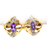 Elegant 14k Gold Amethyst and Diamond Earrings 30 Day Lay Away Available... - $194.00