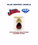 """14k Gold and Gen Garnet Pendant w/FREE 16"""" 3.5cts Made in USA WHOLESALE - $175.00"""