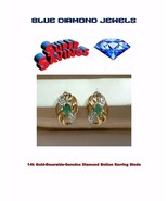 Elegant 14k Gold Emerald and Diamond Earrings WHOLESALE 30 Day Lay Away ... - $142.50
