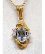"14k Gold Aquamarine and Diamond  Pendant FREE 18"" 14K CABLE CHAIN! DISCO... - $189.99"