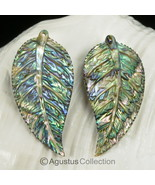 Multicolor PAUA ABALONE SHELL Iridescent Tropical Leaf Earring PAIR 3.44 g - $38.32