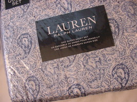 Ralph Lauren Blue and Navy Paisley on White Sheet Set Queen - $115.00