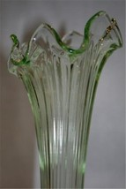 "FENTON Lime Green Ribbed Fluted 10"" Vase  #M16 image 3"