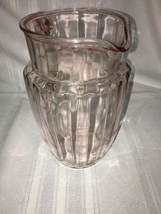 """Vinatage Depression Anchor Hocking Ribbed Pink Glass Water Juice 8"""" Tall... - $29.70"""