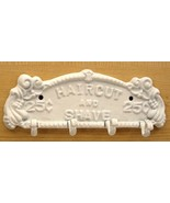 Haircut and Shave Sign Plaque Cast Iron Hook Wall Towel Coat Rack White - $19.79
